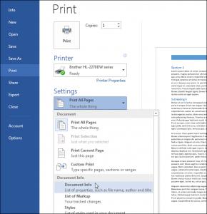 Cách in tài liệu với word